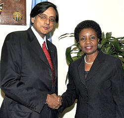 Minister of State for External Affairs Shashi Tharoor (left) calls on Asha-Rose Migiro, Deputy Secretary-General of the United Nations, in New York on Friday. PTI
