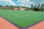 A view of synthetic hockey stadium and hostel building. dh photo