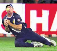 Battle of nerves: Missed opportunities such as this dropped chance by the Bushrangers' Aiden Blizzard will be severely punished in Wednesday's Champions League semifinal.PTI