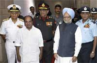Prime Minister Manmohan Singh (front right), and Defence Minister A.K. Antony(2nd left), with Navy Chief Admiral Nirmal Kumar Verma (L), Army Chief Gen. Deepak Kapoor(C) and Air Chief Marshal P.V. Naik
