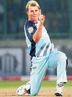 On the charge: New South Wales Blues' Brett Lee celebrates after dismissing Victoria Bushrangers' Aiden Blizzard during the Champions League semifinal in New Delhi. PTI