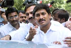 Congress leader Y S Jagan Mohan Reddy comes out after meeting party president Sonia Gandhi at her residence in New Delhi on Thursday. PTI