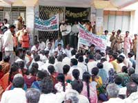 Raising voice JD(S) workers from Ambajidurga hobli staging a protest in front of the taluk office in Chintamani on Saturday. dh photo