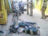 Havoc: The two-wheelers that were damaged in the group clash that occurred at Kilaripet in Kolar on Saturday. dh photo