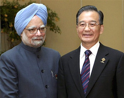 Prime Minister Manmohan Singh with his Chinese counterpart Wen Jiabao during their bilateral talk on the sidelines of the 15th ASEAN Summit at Hua Hin in Thailand on Saturday. PTI