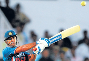 MS Dhoni executes a pull en route to his hundred against Australia in the second one-dayer at Nagpur on Wednesday. AFP