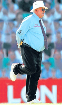 Umpire David Shepherd in his memorable one-legged stance. The Guardian