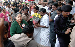 AIADMK chief J Jayalalitha arrives for her party general council meeting at Vanagaram near Chennai on Wednesday. Her close aide Sasikala is with her. PTI