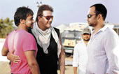 (From left to right) Ajay Devgan, Sanjay Dutt and Rohit Shetty.