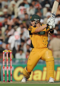 Australian cricketer Shane Watson plays a shot during the Fourth ODI against India in Mohali on Monday. AFP