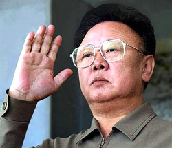 North Korean leader Kim Jong-il returns a salute as he reviews a military parade in Pyongyang. File photo/ Reuters