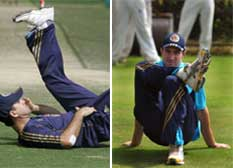 Left: Aussie captain Ricky Ponting and R: Shaun Marsh streches during a practice session at Hydereabad. AFP