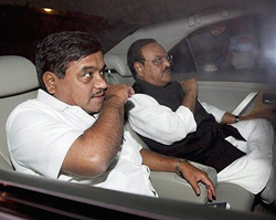 NCP leader RR Patil and Chagan Bhujbal comes out of Party Supremo Sharad Pawar's residence after a party meeting over formation of government in Maharashtra, in New Delhi on Wednesday. PTI