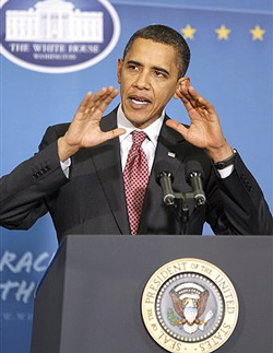 President Barack Obama speaks at James C. Wright Middle School in Madison, Wisconsin on Wednesday. AP