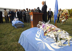 UN special envoy to Afghanistan Kai Eide during a commemoration ceremony for two of four victims killed during an attack, in Kabul, on Tuesday. Reuters