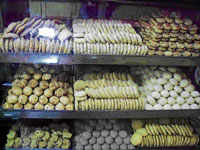 A variety of biscuits on display.