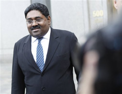 Galleon hedge fund partner Raj Rajaratnam leaves Manhattan Federal Court after a bail hearing on Thursday. AP