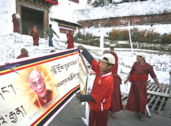 Monks of the Tawang Monastery during preparations for the visit of Tibetan spiritual leader Dalai Lama, in Tawang, Arunachal Pradesh on Thursday. PTI