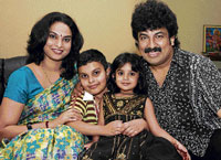 joyous Pallavi and Gurukiran with their children. dh photos by janardhan b k