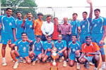 Champs! Karnataka State Police team, winners of the State Senior 'A' division volleyball tournament in Bangalore on Tuesday. STANDING (from left): Girish, Hemanth, Ravindra, Prabhakar (coach), Gangadhar (Traffic ACP, north) , Balaji (trainer), Mahadev Prasad (sports officer), Nagaraj, Karthik and Ramesh Kanavi. KNEELING: Sanoj, Bhagyaraj, Suresh, Nagesh, Arun Kumar and Bhupalan. DH Photo