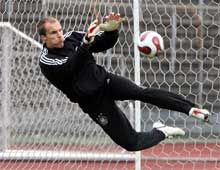 The Sept. 10, 2007 file photo shows German keeper Robert Enke making a save during a training of the German national soccer team in Cologne, Germany.