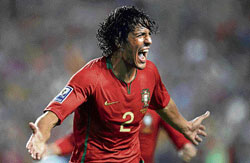Portugal's Bruno Alves exults after scoring the winning goal against Bosnia in their first leg World Cup playoff match on Sunday. AFP