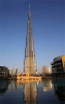 A view of 'Burj Dubai', world's tallest building developed by Emaar, in Dubai recently. The 818-metre building will open in January 2010. PTI