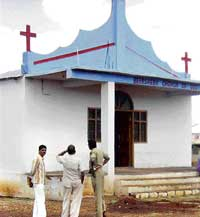 The church that was vandalised in Humnabad town in Bidar on Wednesday. dh photo