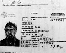 Copy of passport of Tahawwur Hussain Rana, arrested by the Federal Bureau of Investigation on terror charges in the US last month. PTI