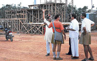getting ready: Preparations are on at Palace Grounds in Bangalore for the RSS meet. dh Photo