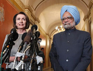Speaker of the House Nancy Pelosi and Indian Prime Minister Manmohan Singh, speak to the media prior their meeting at her office on Capitol Hill in Washington on Monday. AP