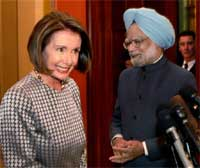 Prime Minister Manmohan Singh and US House of Representatives Nancy Pelosi address media at Capitol Hill in Washington on Monday. PTI
