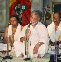 ISRO Chairman K. Radhakrishnan's Carnatic Music recital at the the venue of the Chembai Sangeetholsavam in Guruvayoor conducted in memory of Carnatic music legend Chembai Vaidhyanatha Bhagavathar, on Friday. PTI