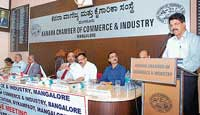 FKCCI President J Crasta addressing the members of KCCI in Mangalore on Monday. DH photo