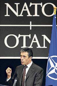 Nato Secretary General Anders Fogh Rasmussen at a press conference at the alliance headquarters in Brussels, on Friday. AFP