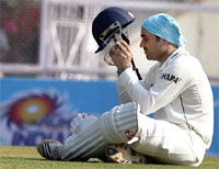 Virendra Sehwag takes a break druing his marathon innings. AP