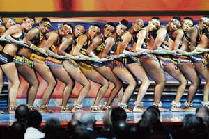 Dancers perform during the World Cup draw in Cape Town on Friday. AFP