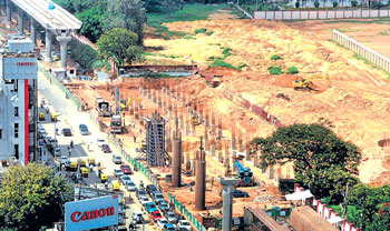 An aerial view of work in progress on MG Road. DH PHOTO