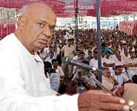 not a nice deal: JD(S) supremo H D Deve Gowda addressing People's Court in Bangalore on Sunday. dh photo
