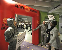 WWF activists cheer as a participant passes through a