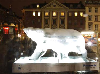 An ice sculpture of a polar bear in downtown Copenhagen. Reuters
