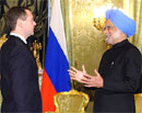 Prime Minister Manmohan Singh meets with Russian President Dmitry Medvedev at the Kremlin in Moscow on Monday. AFP