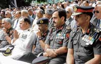 Officers at the Armed Forces Flag Day organised at Raj Bhavan in Bangalore on Monday.. DH photo