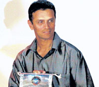 Rahul Dravid poses with the BCCI Special Award in Mumbai on Sunday. AP