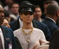 Singer Rihanna leaves the game between the New York Knicks and the Portland Trail Blazers at Madison Square Garden on Monday in New York. AFP