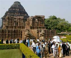 President Pratibha Devi Singh Patil and other officials at the Konark Sun temple in Pri district, 80 km from Bhubaneswar on Wednesday. PTI