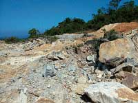 A partial view of the quarrying done near Panchamikallu in Koppa taluk. dh photo