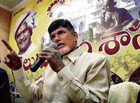 Telugu Desam chief N Chandrababu Naidu at a press meet in Hyderabad on Thursday. Naidu said the Centre's nod for a separate Telangana was a 'hasty decision'. PTI