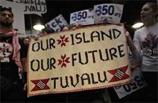 Activists supporting the tiny Pacific island of Tuvalu demonstrate in the main venue demanding a better deal for all island states at the UN Climate summit in Copenhagen. AP