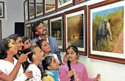 Children looking at the wildlife photographs at an exhibition in Chitrakala Parishat on Wednesday. dh Photo